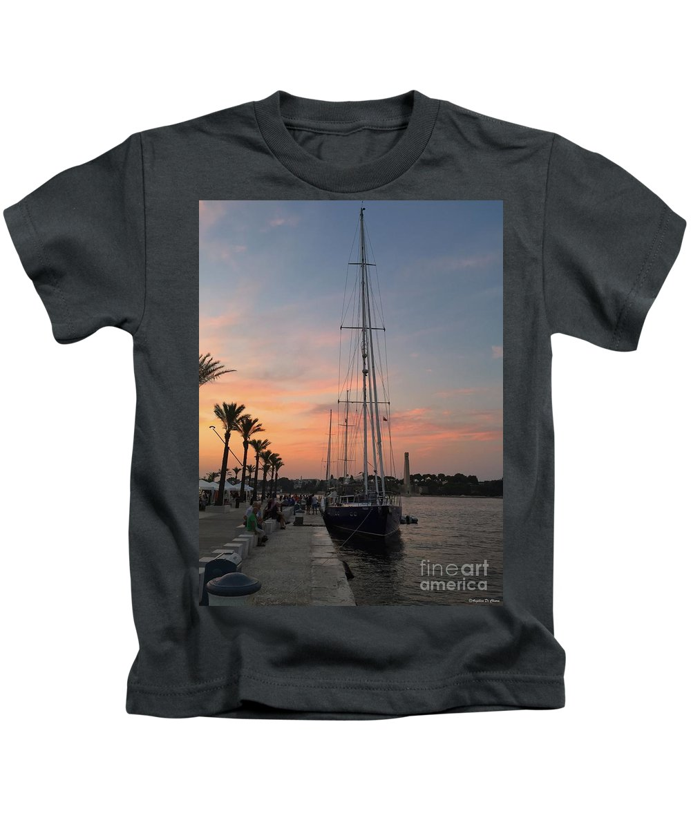 Cityscape Kids T-Shirt featuring the photograph Italian Sunset And Sailboat by Italian Art