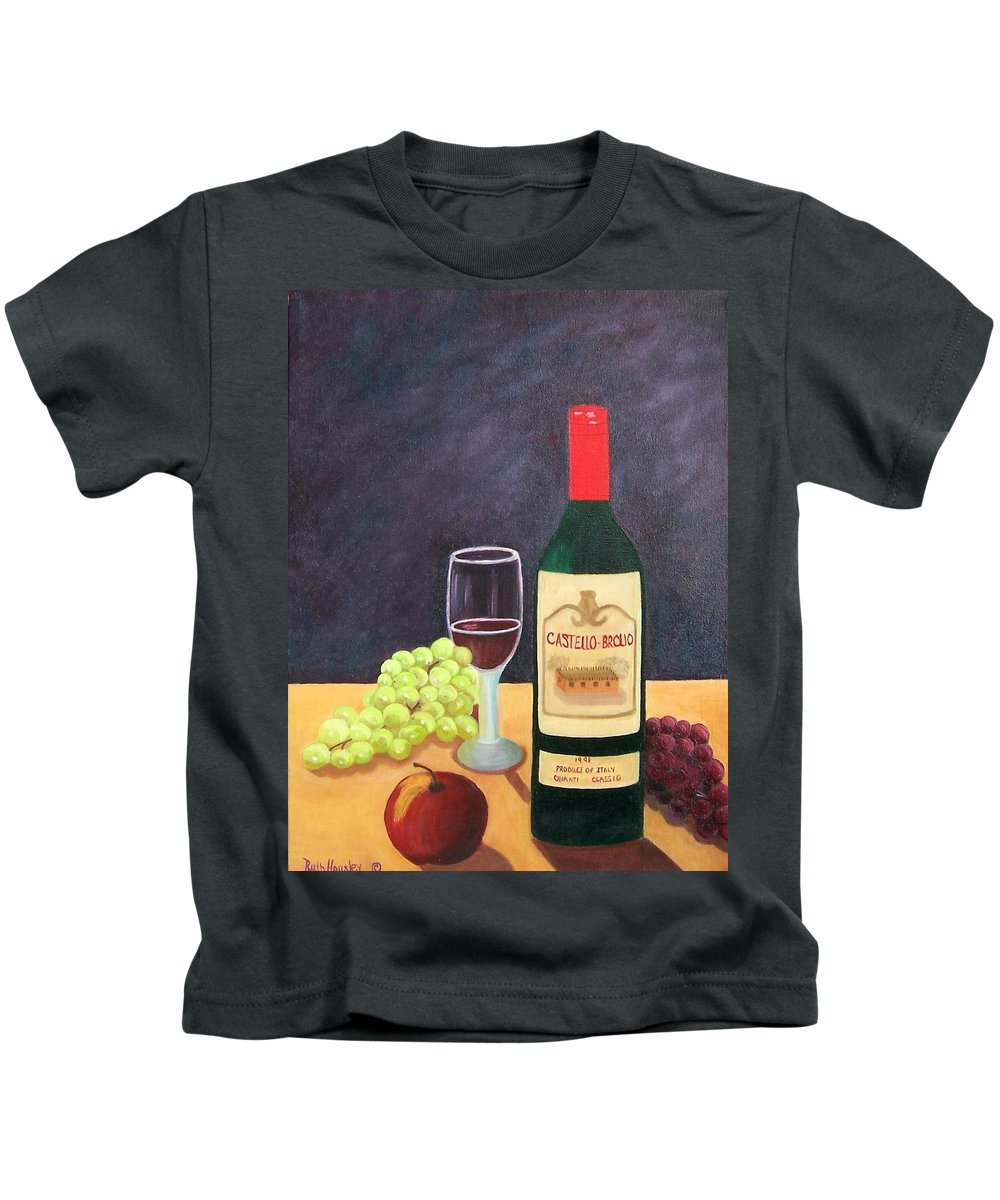 Still Life Kids T-Shirt featuring the painting Italian Wine And Fruit by Ruth Housley
