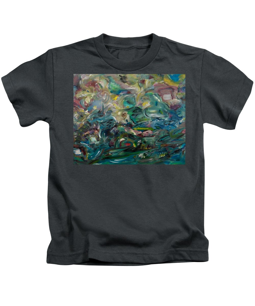Abstract Kids T-Shirt featuring the painting Charming Chasms Series It's A Jungle by Sara Credito