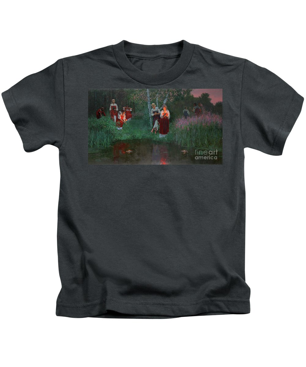 Girs Kids T-Shirt featuring the painting Ivan Kupala. Fortunetelling For Wreaths. by Simon Kozhin