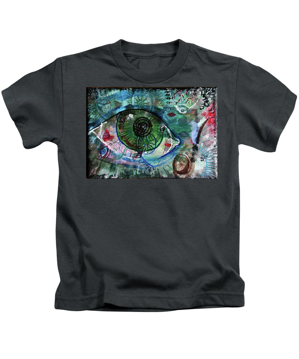 Drawing Kids T-Shirt featuring the painting I've Got My Eye On You by Gideon Cohn