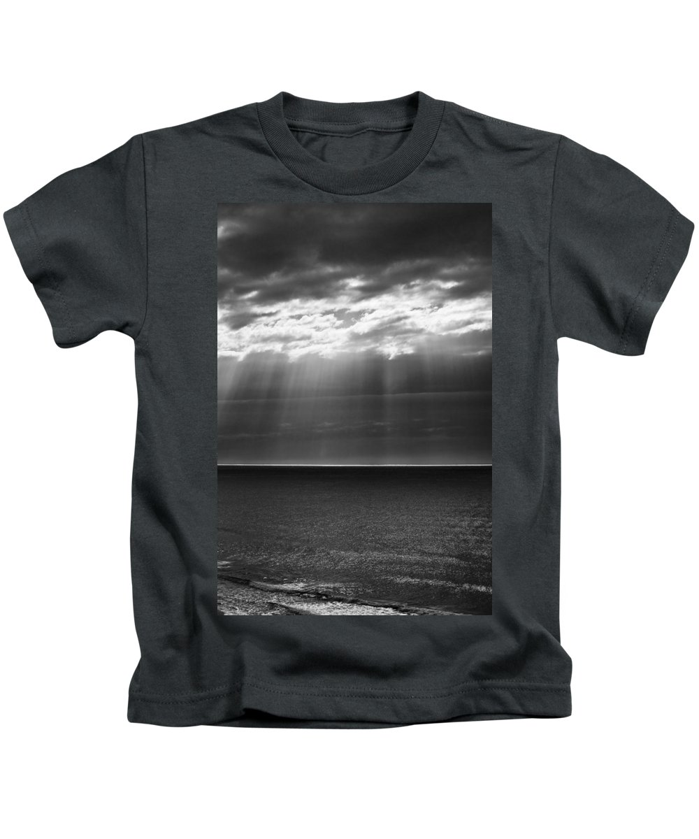 Dawn Storm Monochrome Black And White Kids T-Shirt featuring the photograph Jacobs Ladder At Dawn by Sheila Smart Fine Art Photography