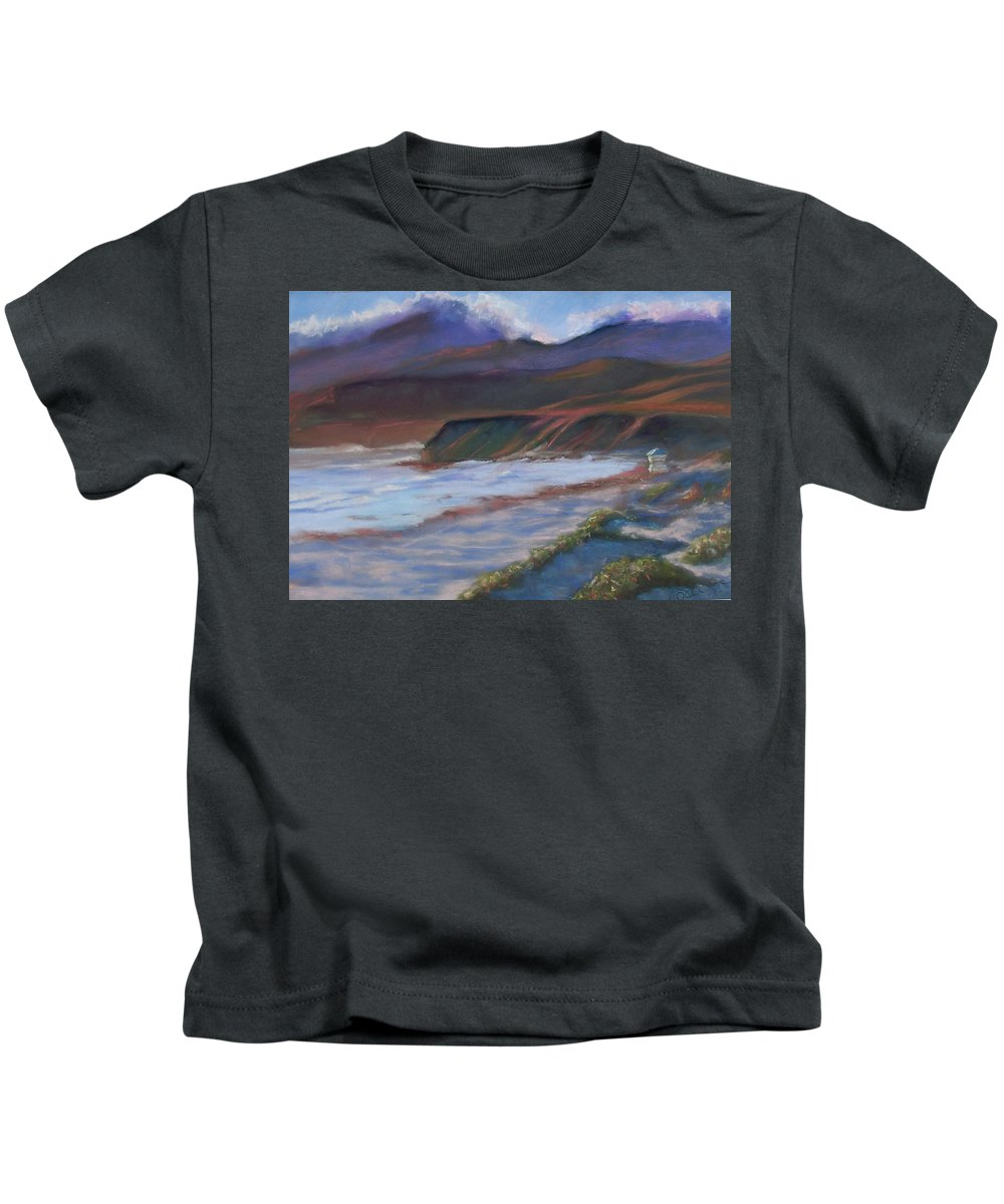 Jalama Beach. Kids T-Shirt featuring the pastel Jalama Beach At Sunset by Laurie Paci