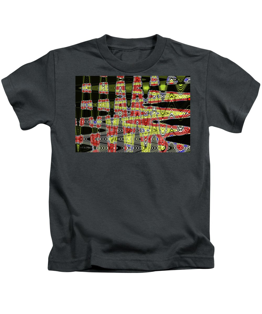 Jancart #0010-8 Kids T-Shirt featuring the digital art Jancart #0010-8 Abstract by Tom Janca