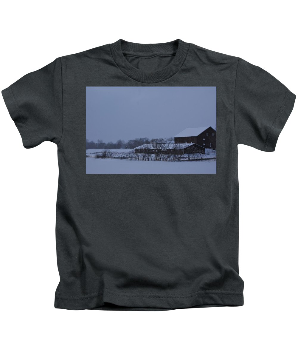 Barn Winter Snow Field Ontario Canada January Kids T-Shirt featuring the photograph January Barn by The Sangsters