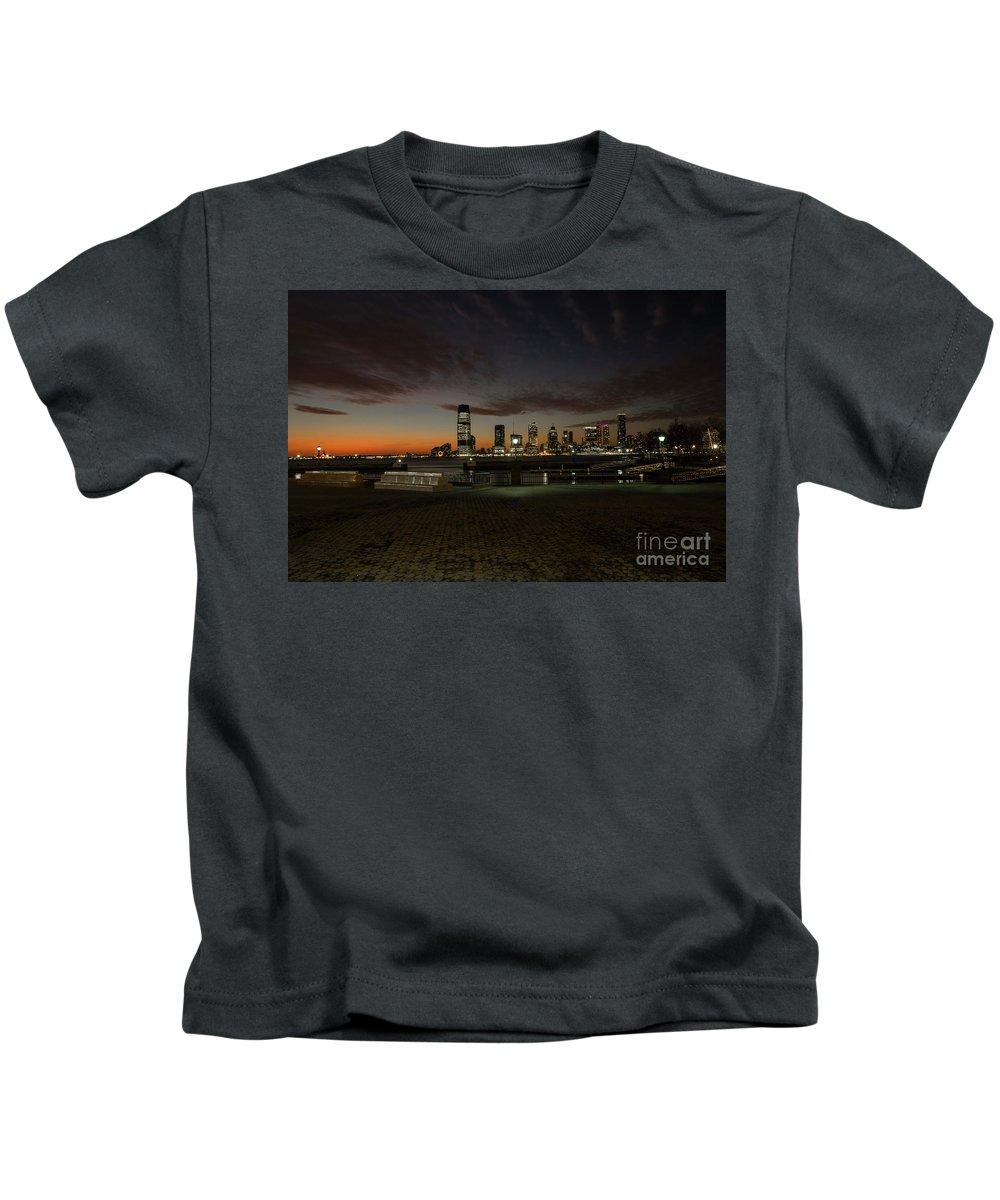 New York City Kids T-Shirt featuring the photograph January Evening by Reynaldo Brigantty