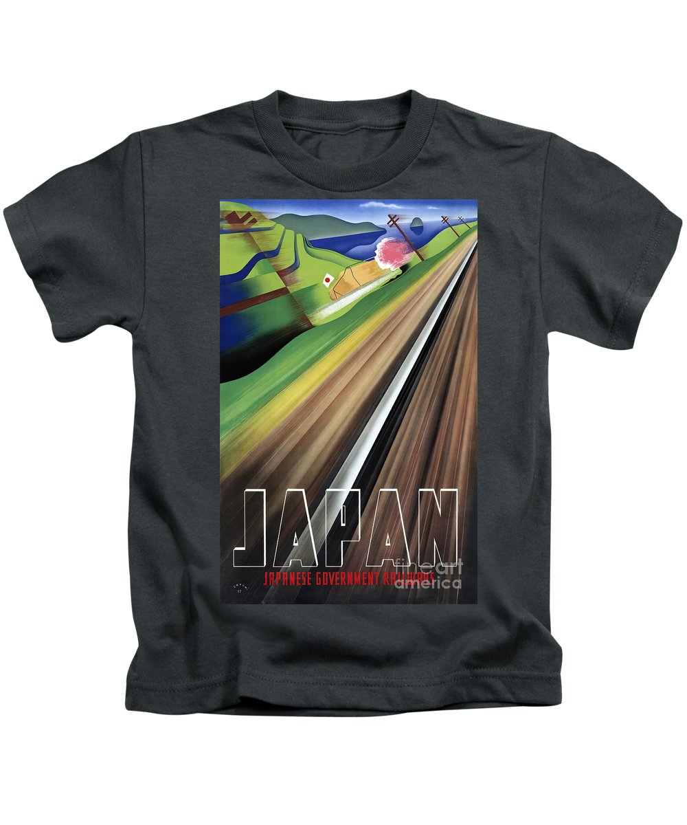 Japan Kids T-Shirt featuring the painting Japan Vintage Travel Poster Restored by Carsten Reisinger