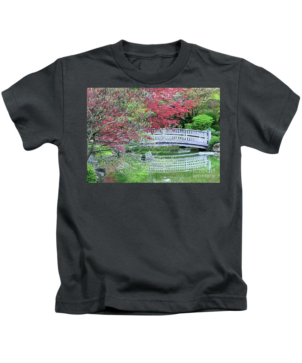 Landscape Kids T-Shirt featuring the photograph Japanese Garden Bridge In Springtime by Carol Groenen