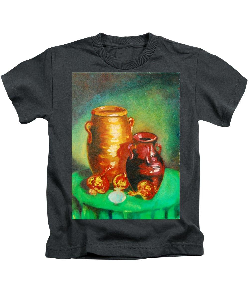 Jars Kids T-Shirt featuring the painting Jars by Matthew Doronila