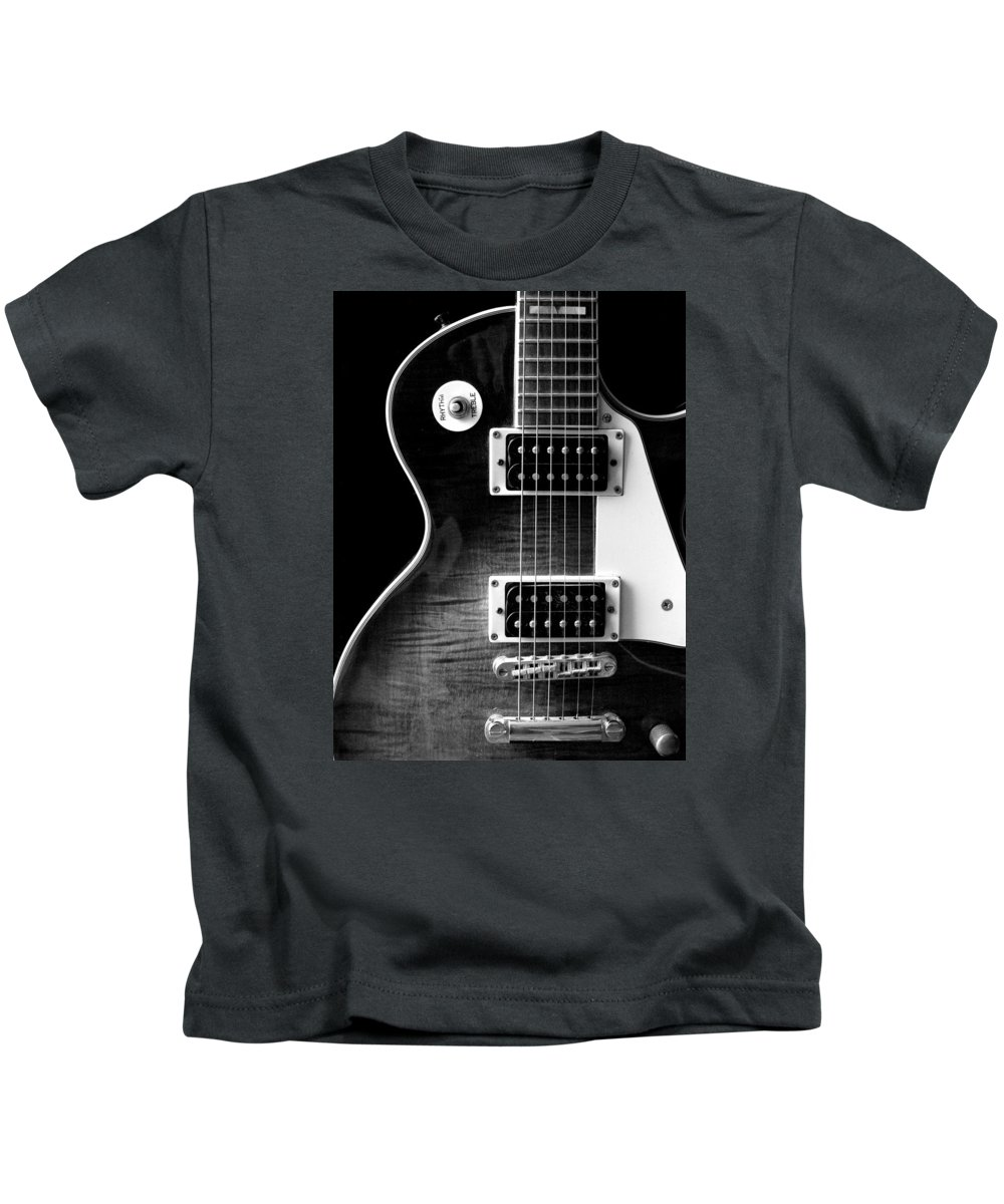 Jay Turser Kids T-Shirt featuring the photograph Jay Turser Guitar Bw 4 by Dorothy Lee
