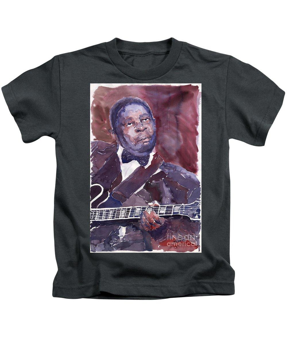 Jazz Bbking Guitarist Blues Portret Figurative Music Kids T-Shirt featuring the painting Jazz B B King by Yuriy Shevchuk