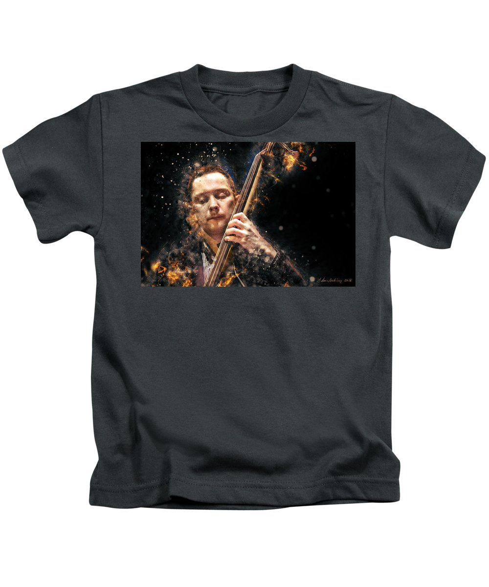 Digital Kids T-Shirt featuring the photograph Jazz Bass Player by Arthur Babiarz