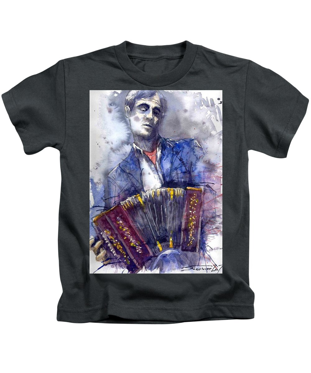 Jazz Kids T-Shirt featuring the painting Jazz Concertina player by Yuriy Shevchuk
