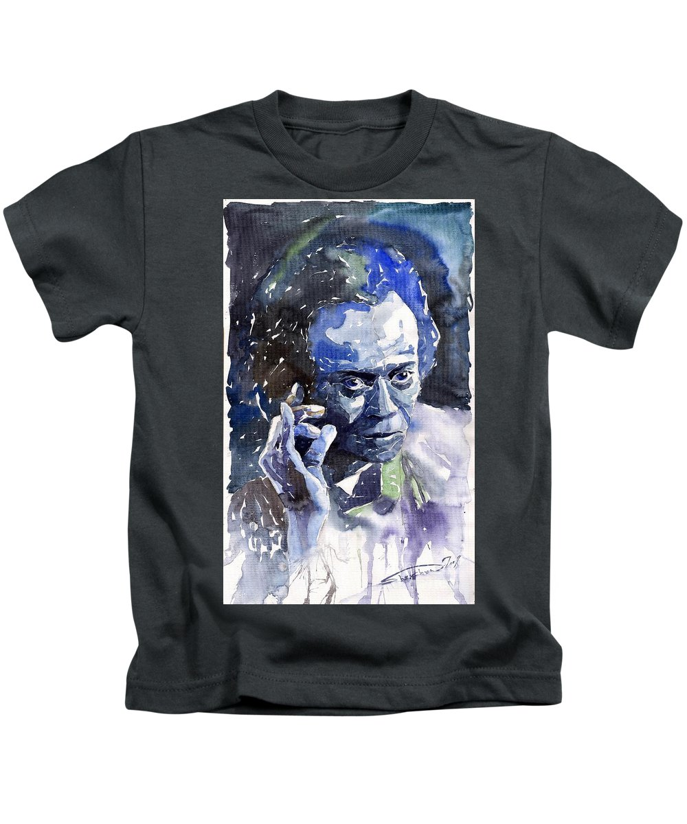 Jazz Kids T-Shirt featuring the painting Jazz Miles Davis 11 blue by Yuriy Shevchuk
