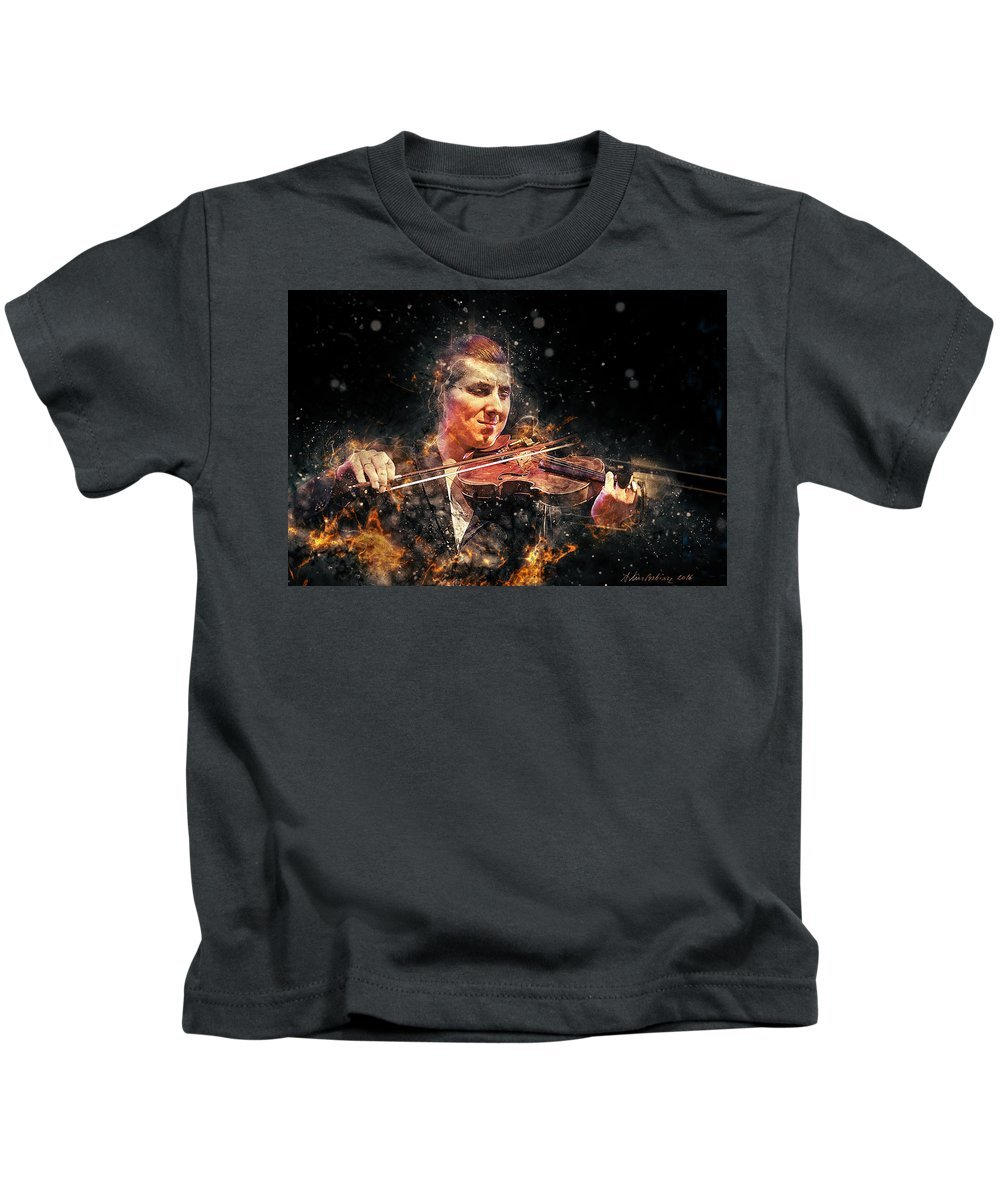 Digital Kids T-Shirt featuring the photograph Jazz Violin Player by Arthur Babiarz