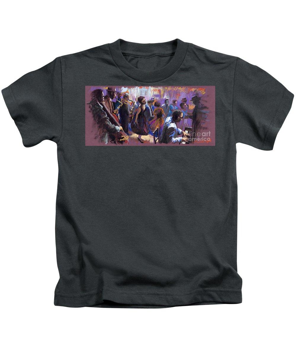 Jazz.pastel Kids T-Shirt featuring the painting Jazz by Yuriy Shevchuk