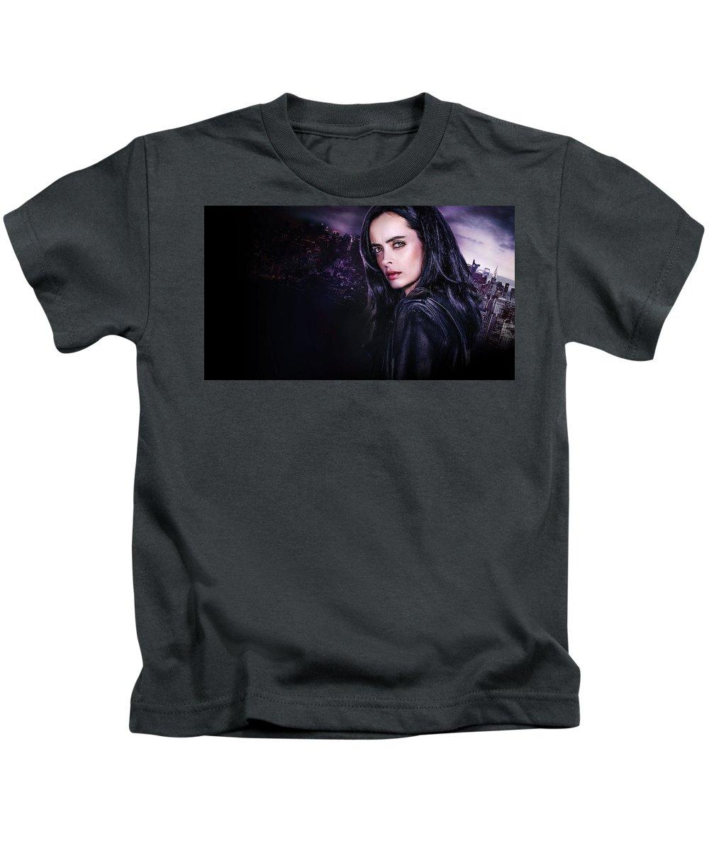 Jessica Jones Kids T-Shirt featuring the digital art Jessica Jones by Dorothy Binder