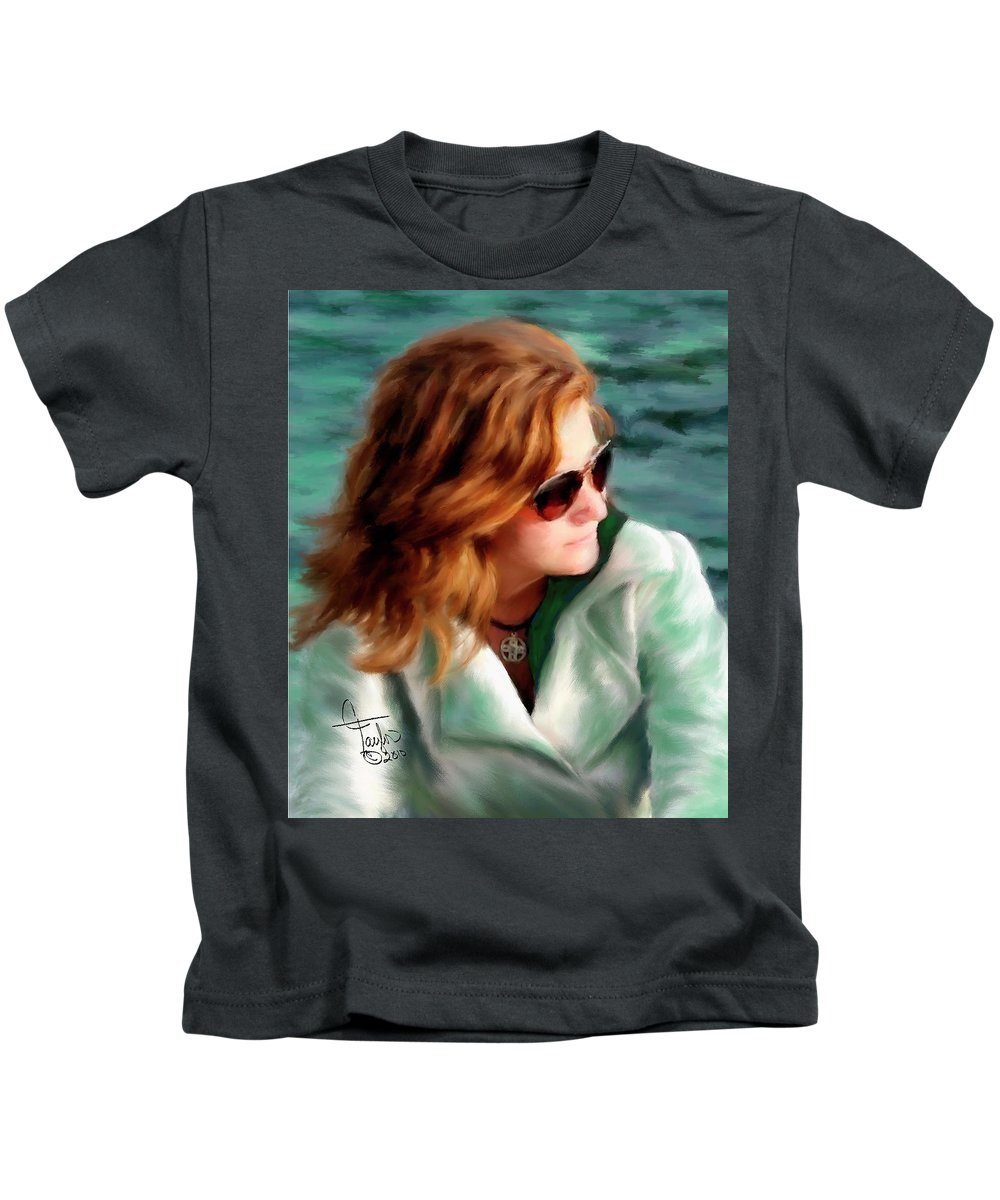 Red Head Kids T-Shirt featuring the painting Jewel Of Contemplation by Colleen Taylor