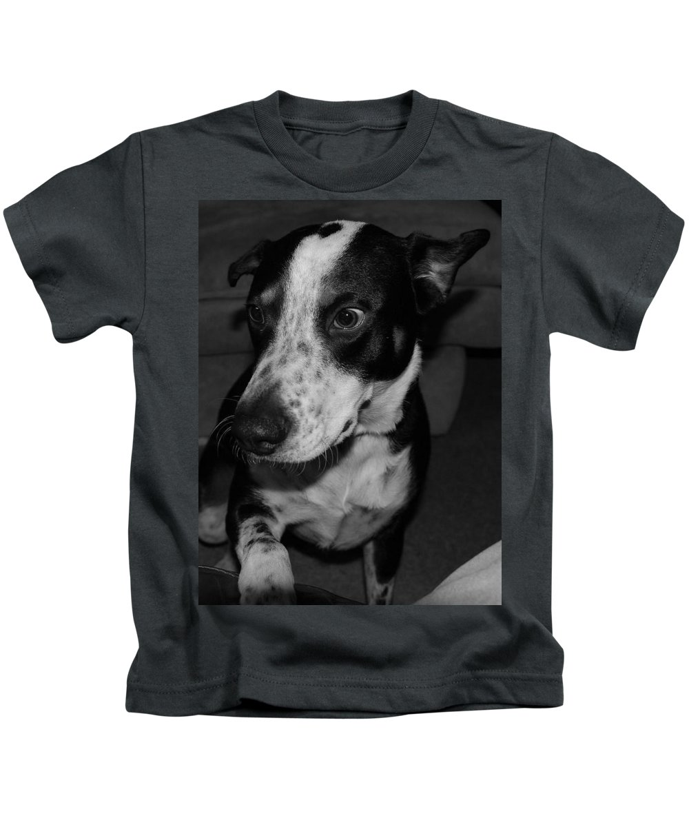 Black And White Kids T-Shirt featuring the photograph Jimmy by Rob Hans