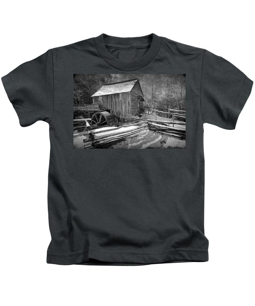 Art Kids T-Shirt featuring the photograph John Cable Gristmill In Cade's Cove The Great Smokey Mountains by Randall Nyhof