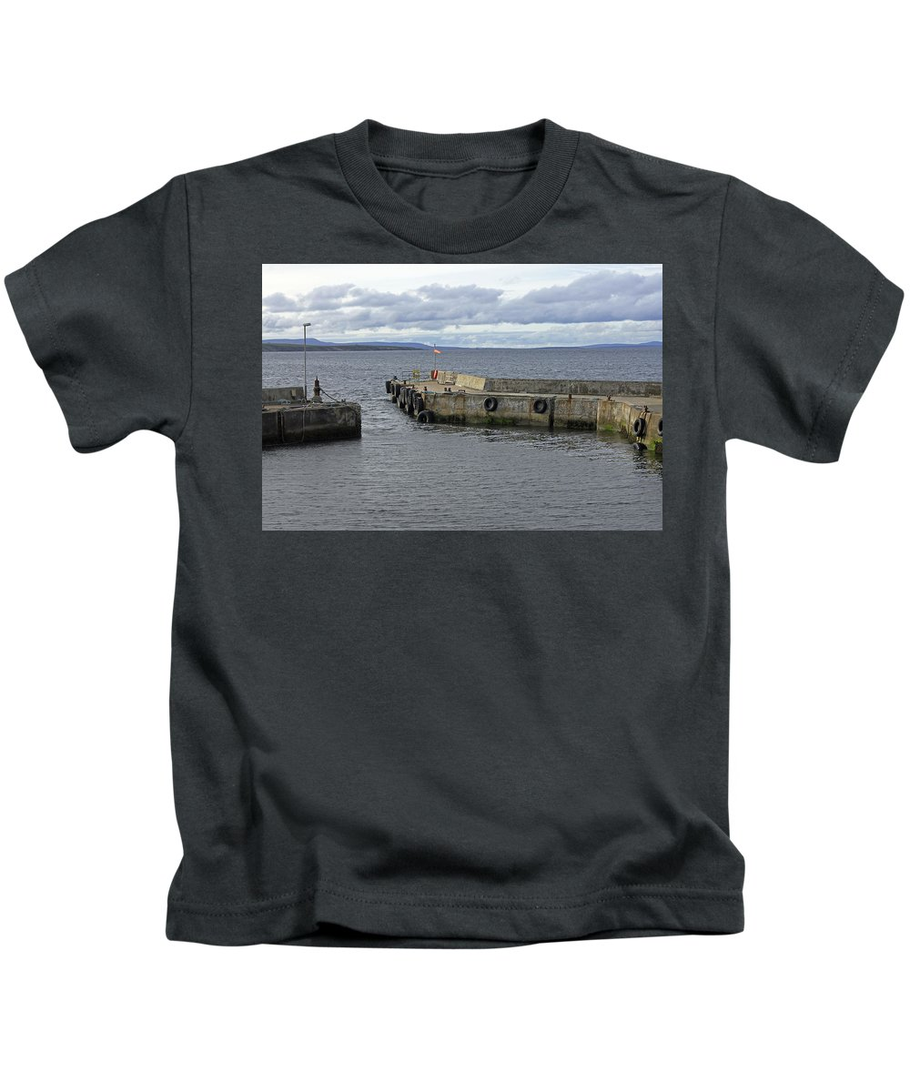 John O'groats Harbour Kids T-Shirt featuring the photograph John O'groats Harbour by Tony Murtagh