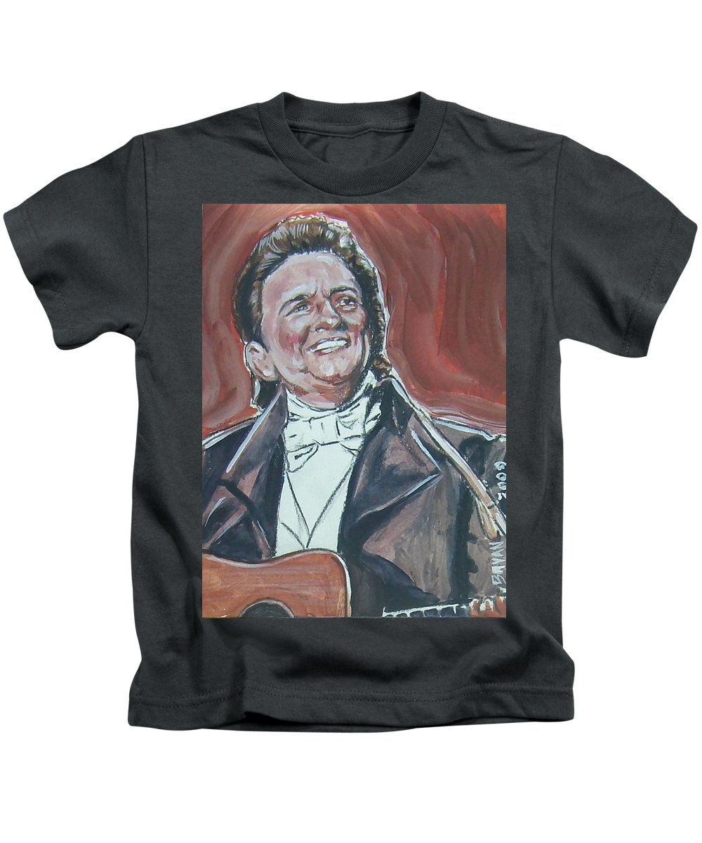 Johnny Cash Kids T-Shirt featuring the painting Johnny Cash by Bryan Bustard