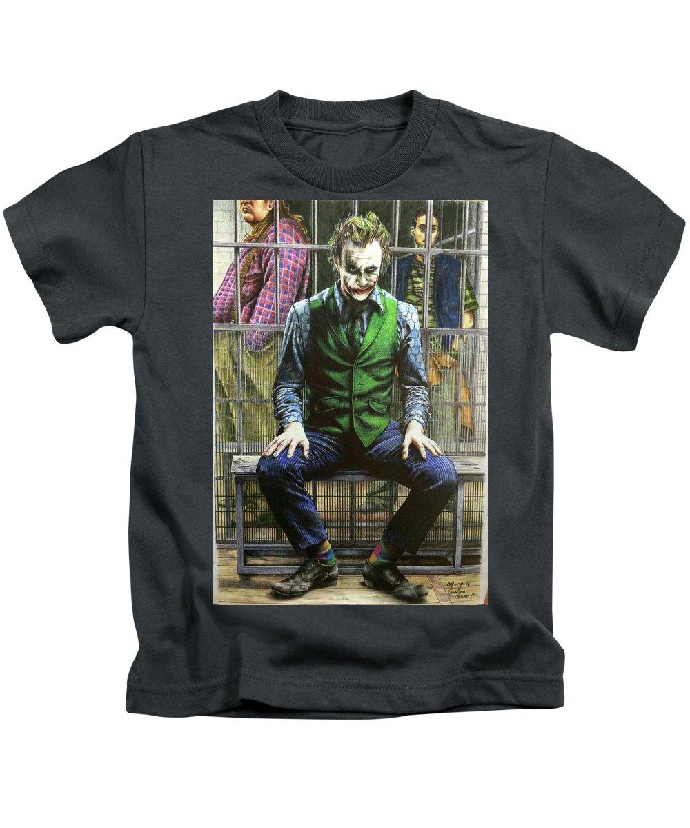 Joker Kids T-Shirt featuring the drawing Joker by Carola Moreno