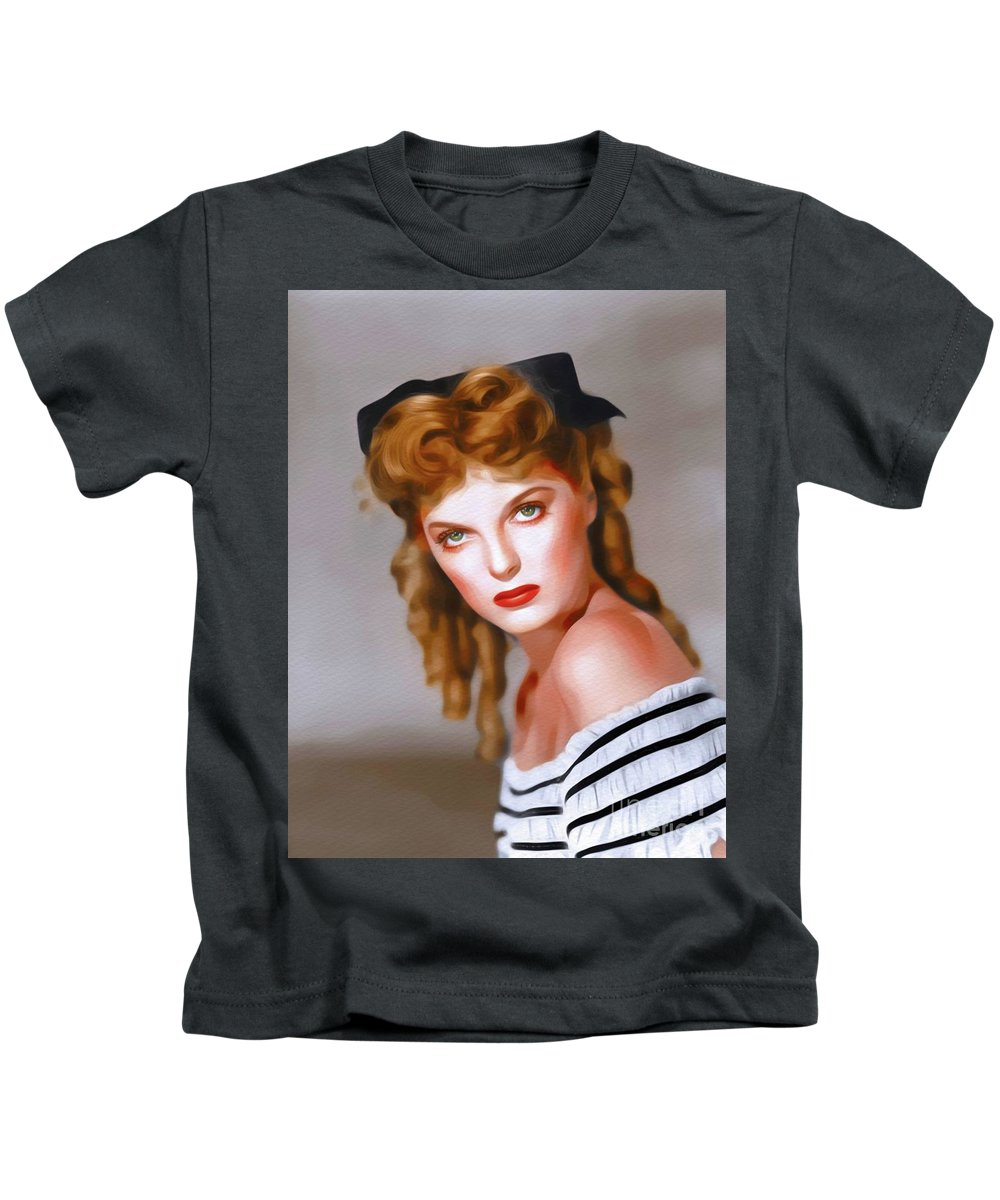Julie Kids T-Shirt featuring the painting Julie London, Vintage Actress by John Springfield