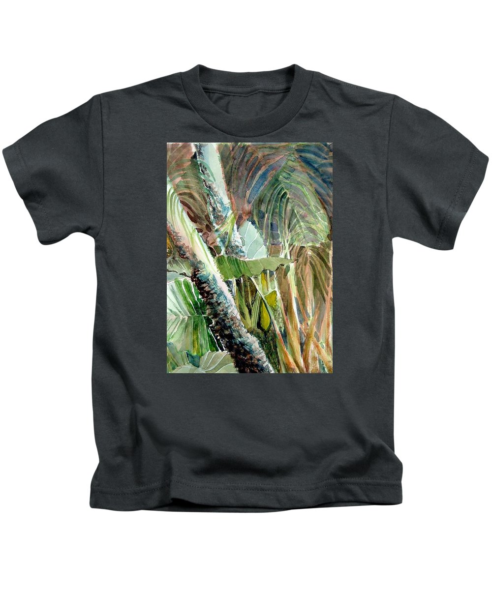 Palm Tree Kids T-Shirt featuring the painting Jungle Light by Mindy Newman