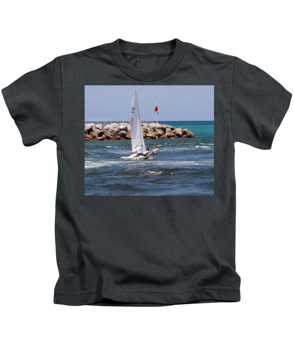 Florida; Jupiter; Inlet; Loxahatchee; River; Beach; Shore; Coast; Sand; Sandy; Ocean; Sea; Atlantic; Kids T-Shirt featuring the photograph Jupiter Inlet In Florida by Allan Hughes