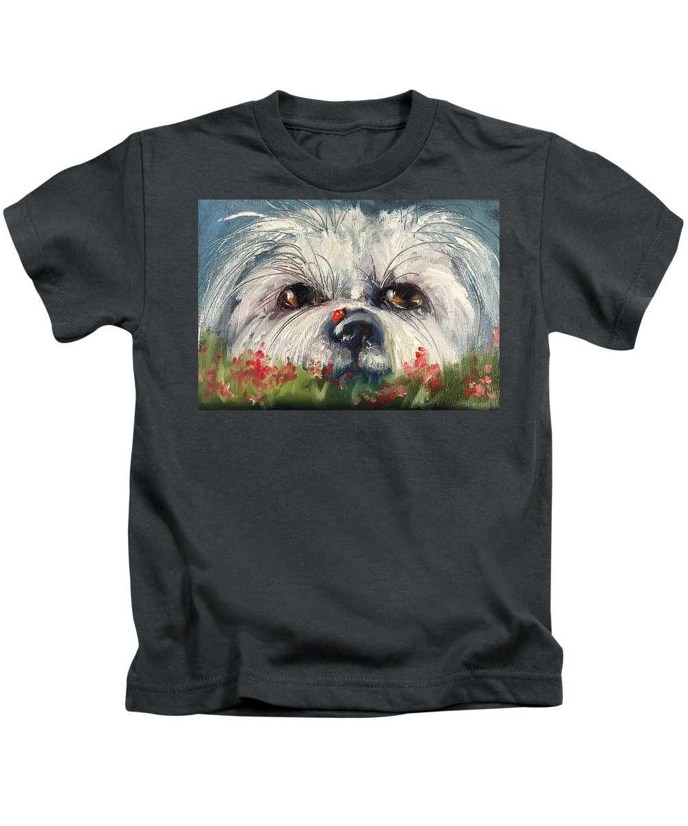 Dog Kids T-Shirt featuring the painting Just Hiding Out by Angela Sullivan