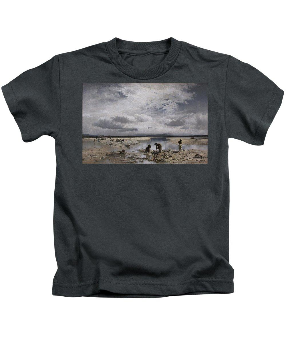 Joseph Wenglein Kids T-Shirt featuring the painting Kalksteinsammlerinnen Im Isarbett by MotionAge Designs