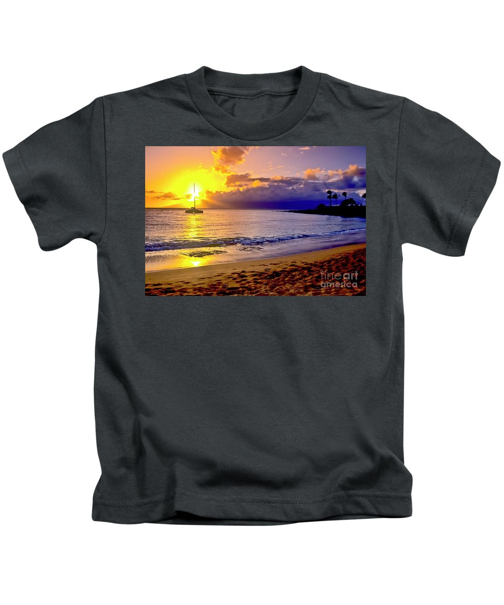 Scenics Kids T-Shirt featuring the photograph Kapalua Bay Sunset by Jim Cazel
