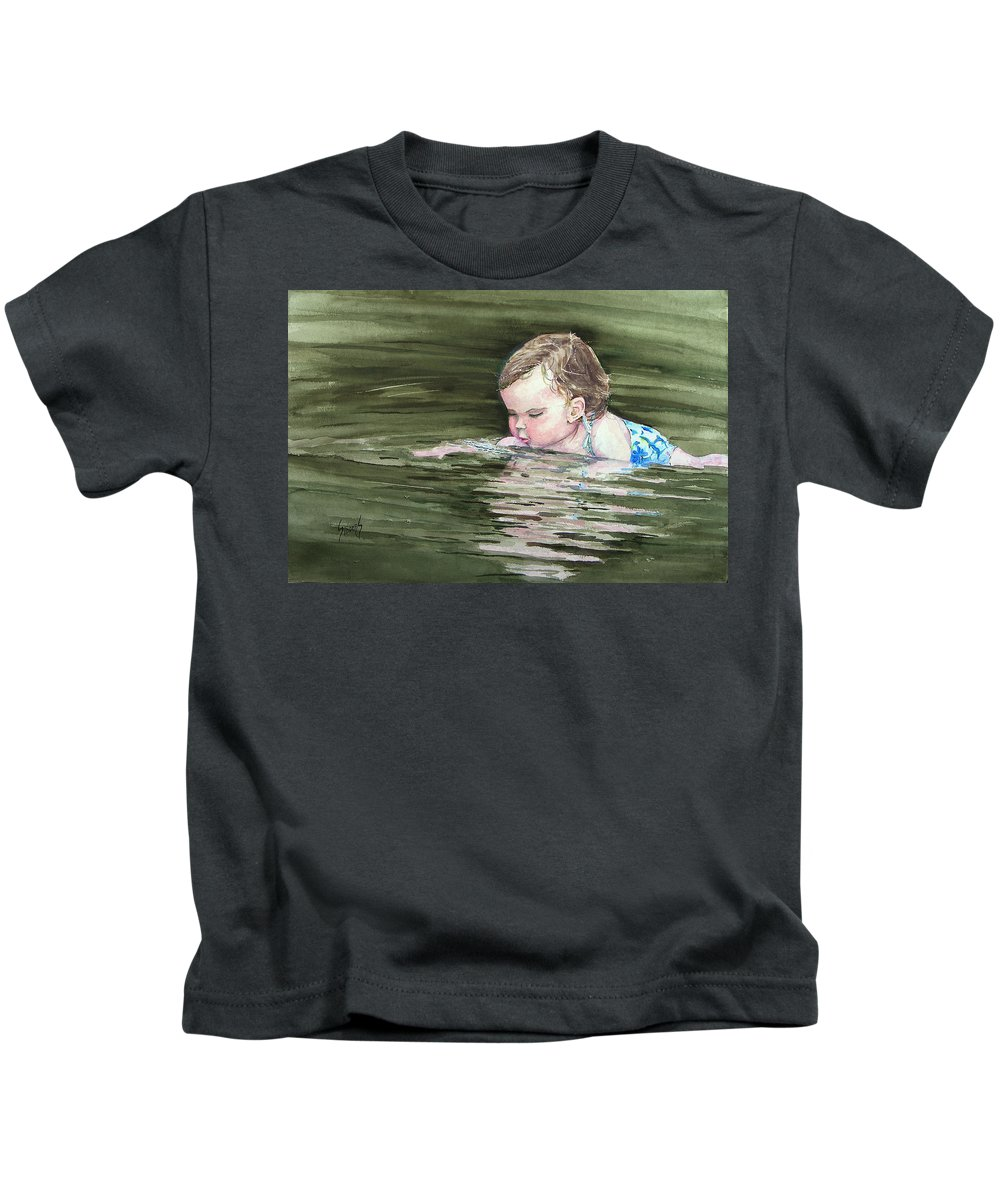Child In River Kids T-Shirt featuring the painting Katie Wants A River Rock by Sam Sidders
