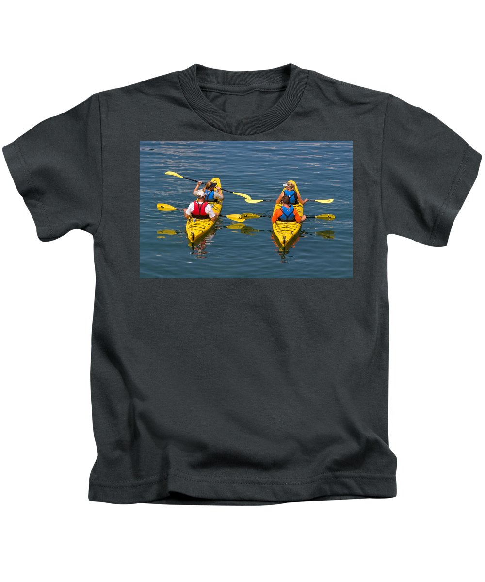 Kayak Kids T-Shirt featuring the photograph Kayakers In Bar Harbor Maine by Louise Heusinkveld