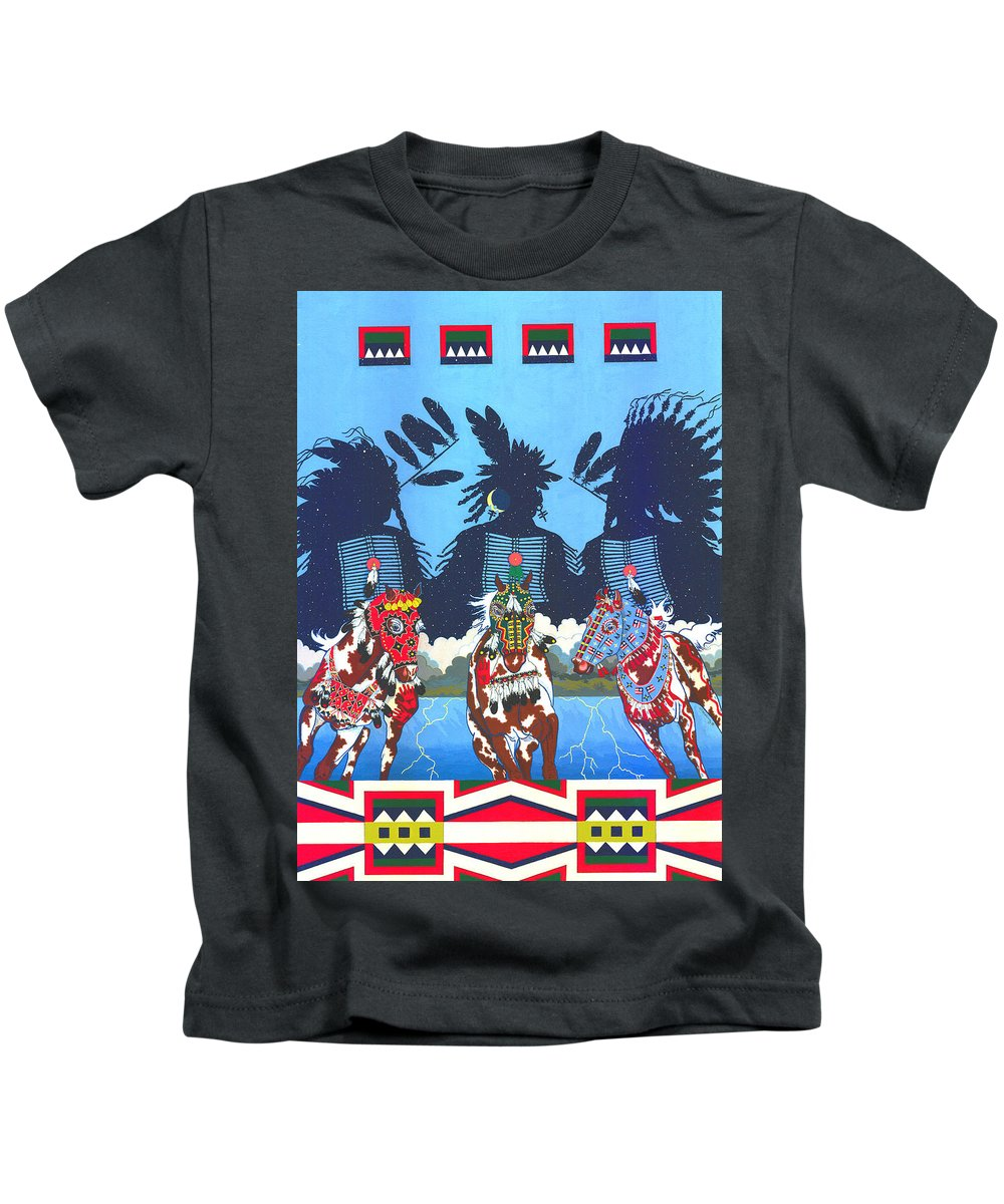 America Kids T-Shirt featuring the painting Keepers Of The Law by Chholing Taha