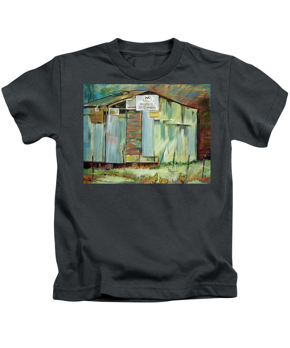 Barn Kids T-Shirt featuring the painting Kenny's Barn by Idie Karr