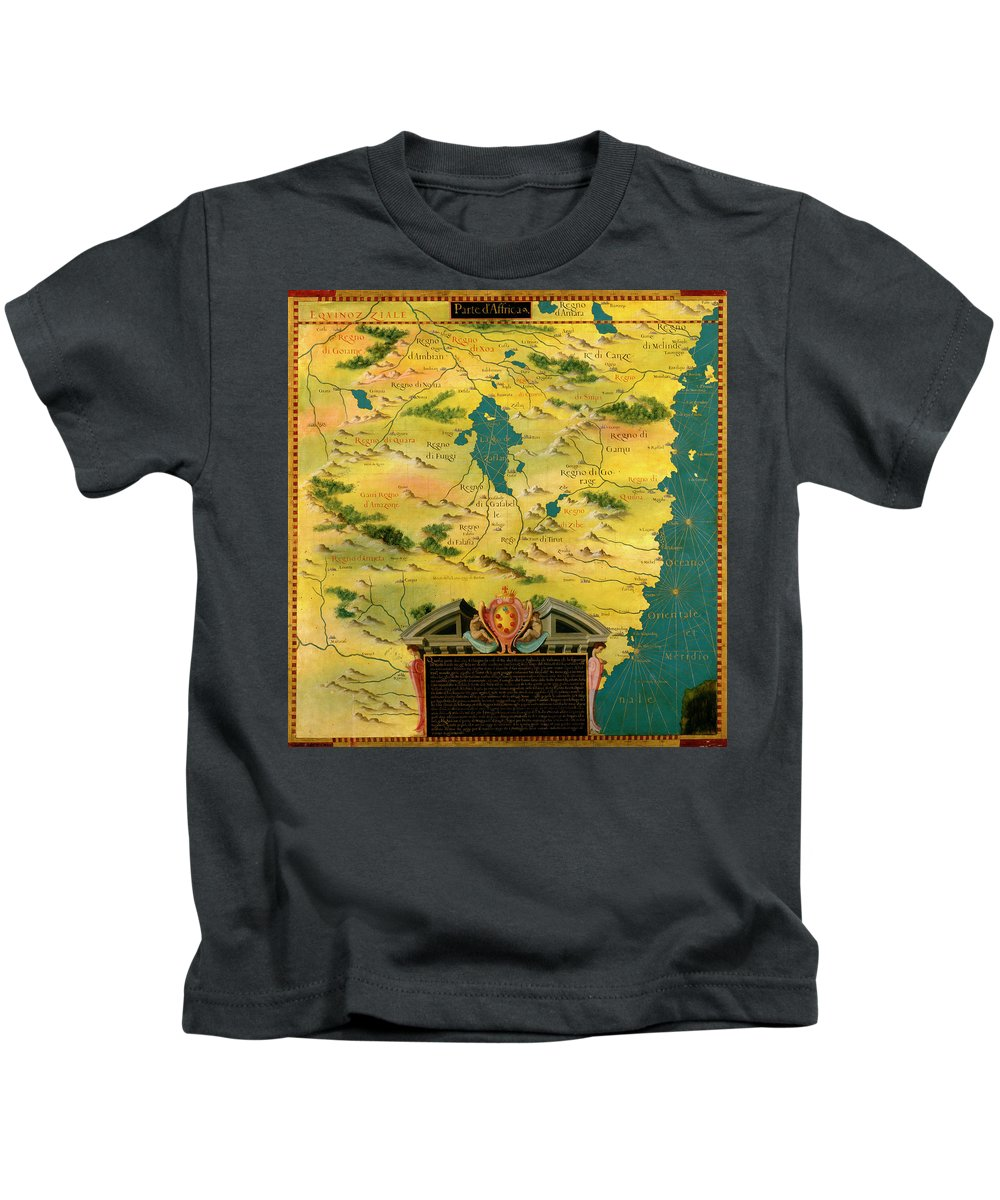 Map Kids T-Shirt featuring the painting Kenya And Tanzania by Italian painter of the 16th century