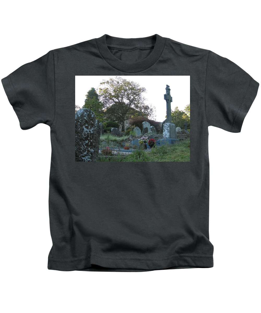 Graveyard Kids T-Shirt featuring the photograph Kilmokea Graveyard by Kelly Mezzapelle