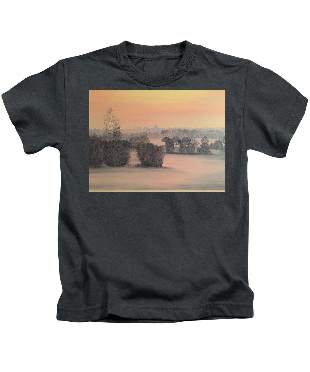Landscape Kids T-Shirt featuring the painting Kluetzer Winkel by Heike Gramckow