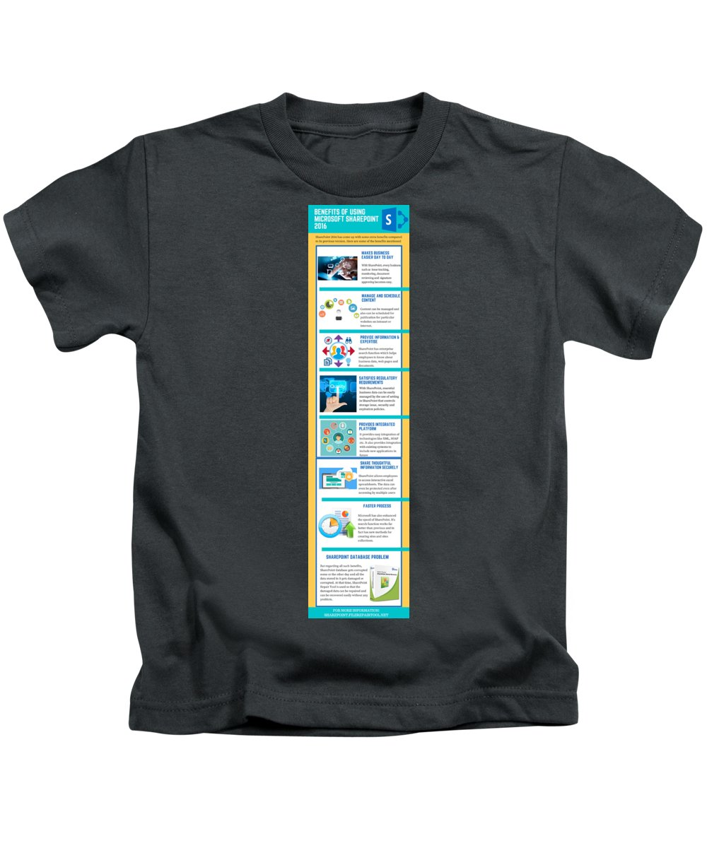 Sharepoint 2016 Kids T-Shirt featuring the digital art Know About The Benefits Of Using Microsoft Sharepoint 201 by Edwards Paul