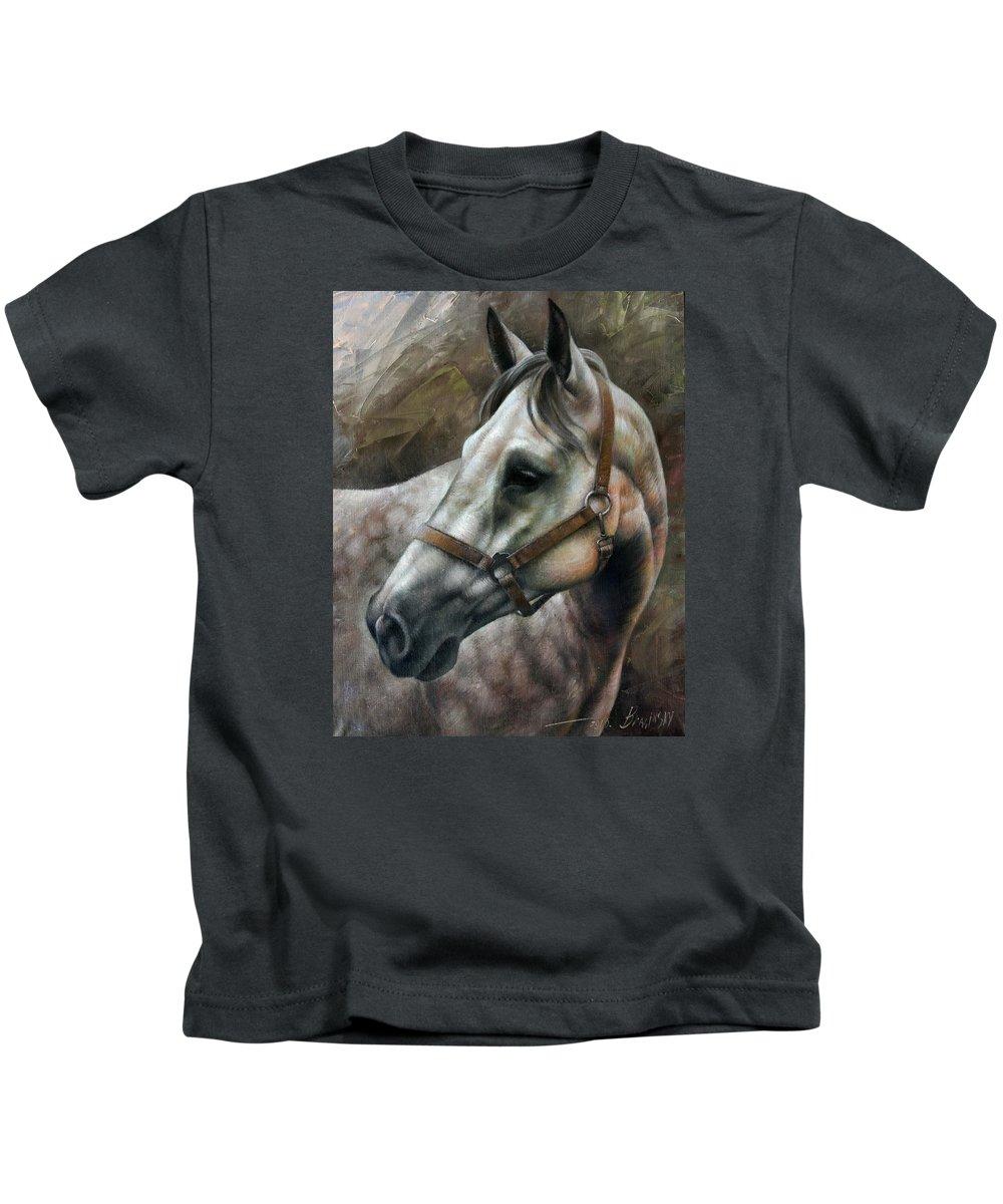 Horse Kids T-Shirt featuring the painting Kogarashi by Arthur Braginsky
