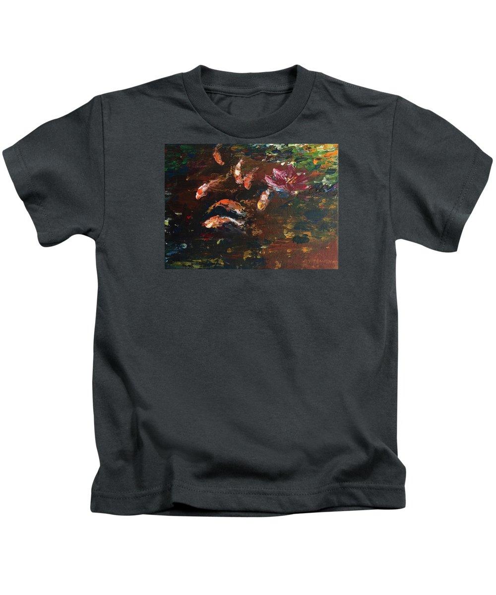 Koi Kids T-Shirt featuring the painting Koi 1 by Jun Jamosmos