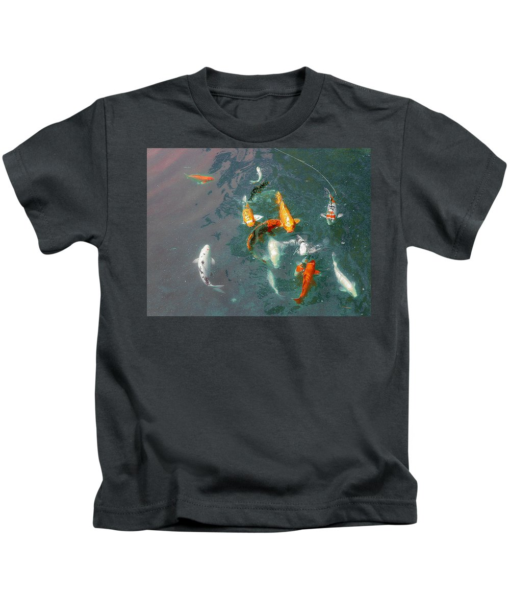 Koi Kids T-Shirt featuring the photograph Koi Symphony 1 Stylized by Anne Cameron Cutri