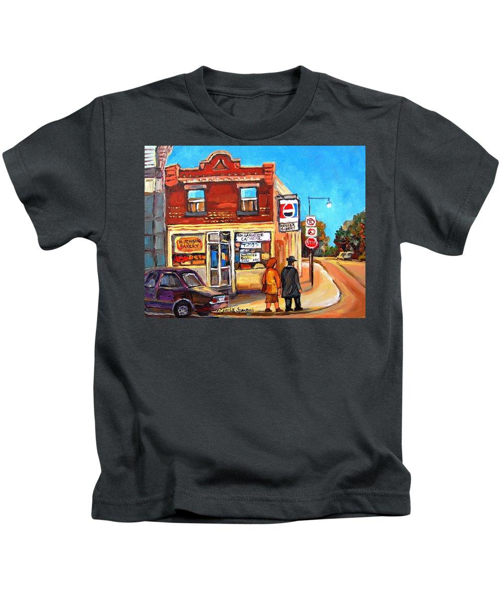 Kosher Bakery On Hutchison Kids T-Shirt featuring the painting Kosher Bakery On Hutchison by Carole Spandau