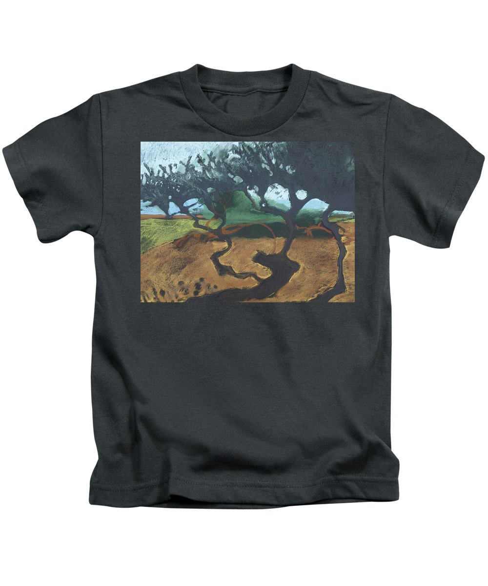 Contemporary Tree Landscape Kids T-Shirt featuring the drawing La Jolla I by Leah Tomaino