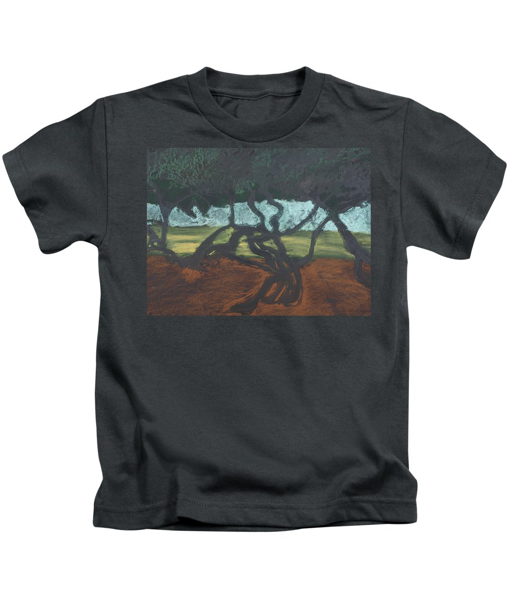 Contemporary Tree Landscape Kids T-Shirt featuring the mixed media La Jolla II by Leah Tomaino