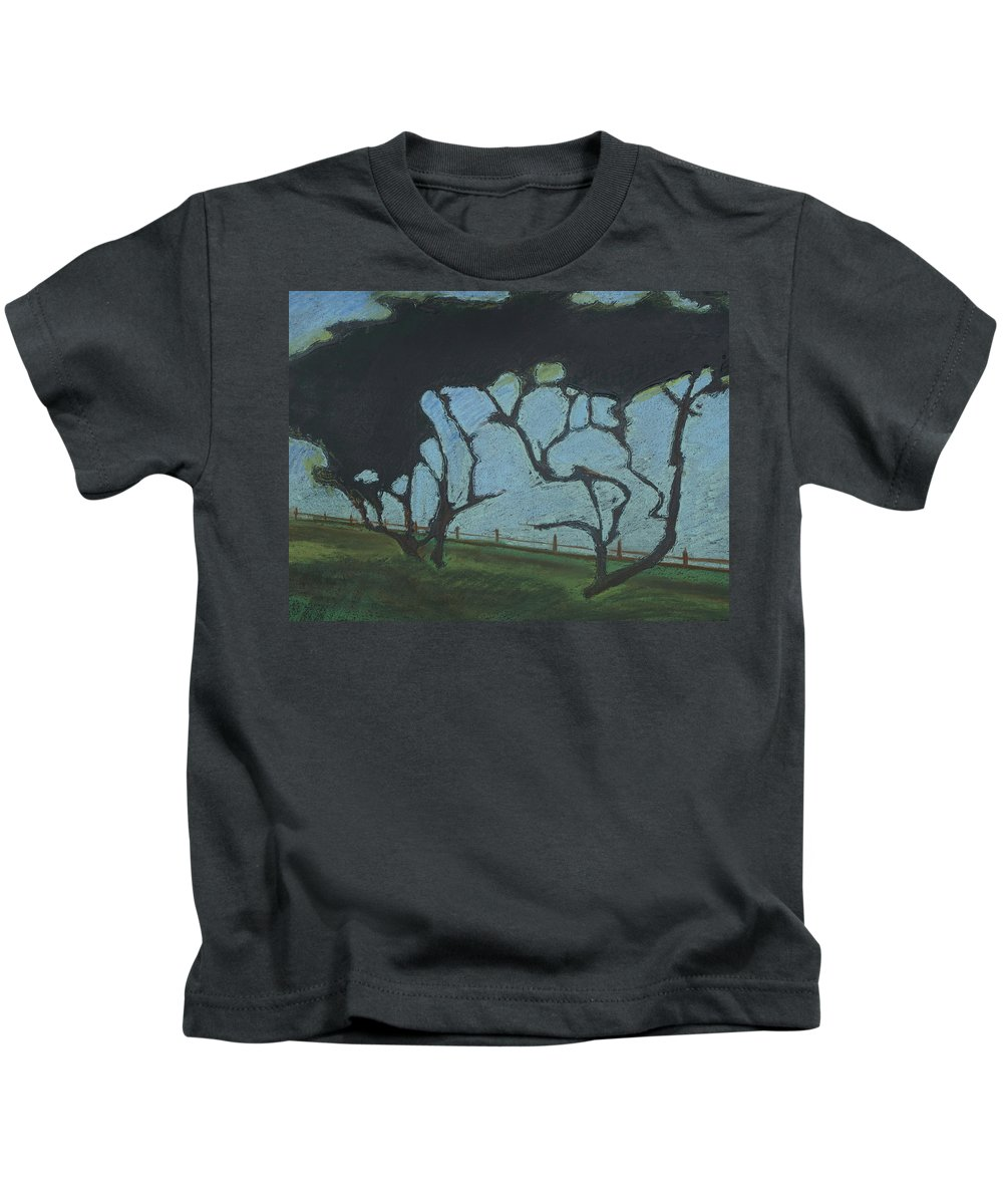 Contemporary Tree Landscape Kids T-Shirt featuring the mixed media La Jolla IIi by Leah Tomaino