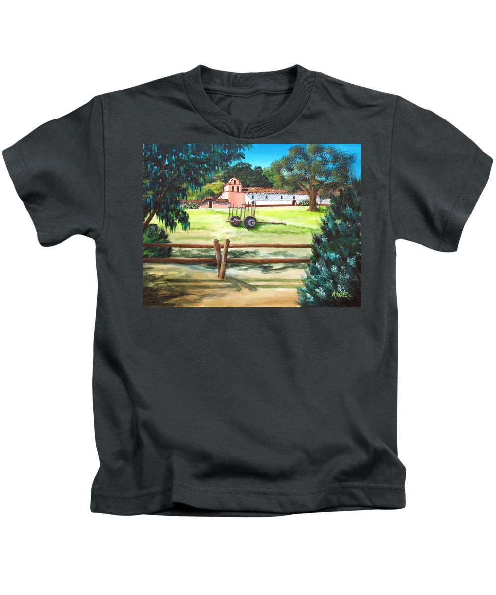 La Purisima Kids T-Shirt featuring the painting La Purisima With Fence by Angie Hamlin