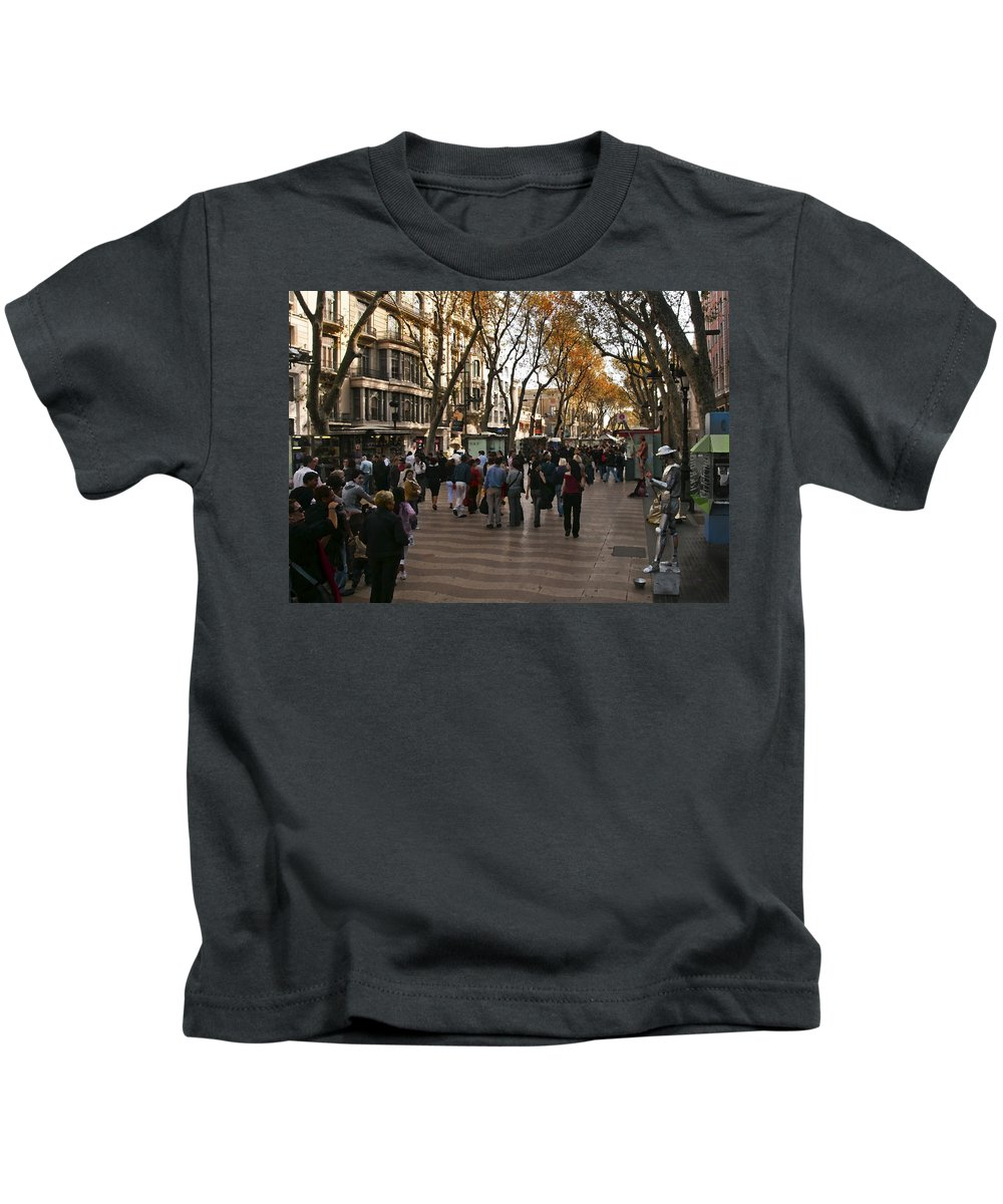 La Rambla Kids T-Shirt featuring the photograph La Rambla II by Steven Sparks